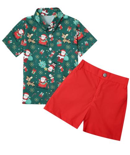 クリスマスキッズボーイ紳士プリントブラウスとプレーンショーツセット