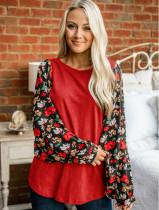 Frühling Casual O-Neck Shirt mit Blumenärmeln