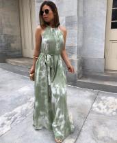 Sommer Elegant Tie Dye Scoop Neck Langes Kleid