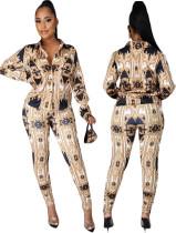 Spring Retro Print Bluse und Hose Matching Set