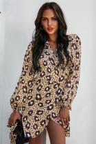Frühlings-lässiges kurzes Kleid mit Leopardenmuster