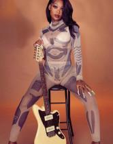 Spring Print Durchsichtiges Set aus sexy Bodys und Leggings