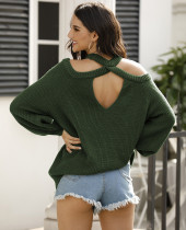 Spring Solid Cut Out Schulterhalfter Pullover
