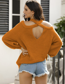 Spring Solid Cut Out Shoulder Halter Sweaters