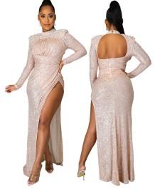 Spring Sequins High Cut Beaded Evening Dress