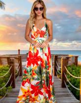 Sommer lässig Blumenriemen langes Kleid
