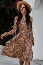 Frühling Casual Print V-Ausschnitt anständiges langes Kleid