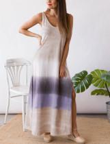 Vestido largo sin mangas con cuello en V y abertura lateral informal de verano