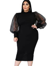 Balon Kollu Büyük Beden İlkbahar Resmi Siyah Midi Elbise