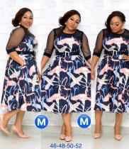 Plus Size Spring Print Mature Decent Dress