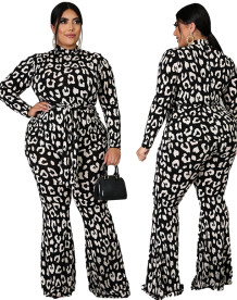 Plus Size Spring Formal Leopard Jumpsuit