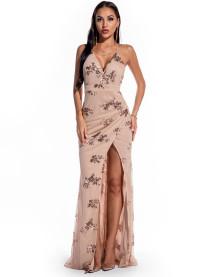 Summer High Cut Sequins Strap Long Evening Dress