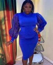 Plus size lente formele blauwe midi-jurk met pofmouwen