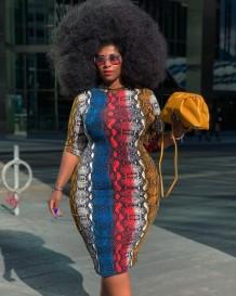 Plus-size lente formele slangenhuid midi-jurk