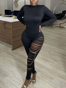 Spring Party Solid Ripped Sexy Ketten Bodycon Jumpsuit