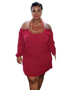 Plus Size Spring Solid Off Shoulder Shirt Dress