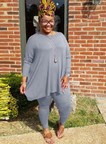 Plus Size Spring Solid Loose Shirt and Legging Set