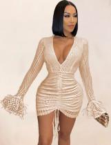 Сексуальное вечернее платье с длинными рукавами и блестящими блестками
