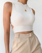 Top corto de punto sexy de verano con espalda torcida