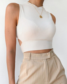 Summer Sexy Knitting Crop Top with Twist Back