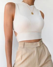 Sommer Sexy Strick Crop Top mit Twist Back
