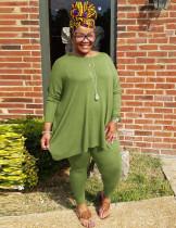 Camicia e legging tinta unita primavera taglie forti
