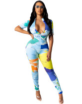 Party Map Print Sexy Zipped Bodycon Jumpsuit