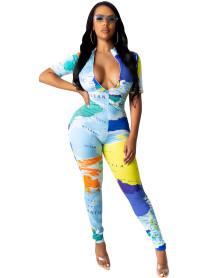Party Map Print Sexy Jumpsuit mit Reißverschluss
