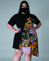 Plus Size Summer Print Irregular Dress with Matching Face Cover