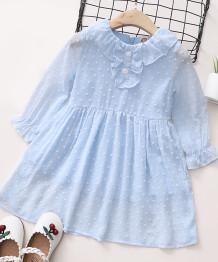 Весеннее синее шифоновое платье с плиссированной юбкой для маленьких девочек