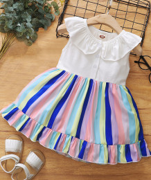Летнее радужное платье без рукавов для маленьких девочек