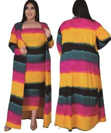 Vestido de tubo de colores de primavera de talla grande con cárdigans a juego