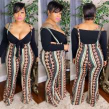 Plus Size Spring Black Knotted Top and Print Suspender Pants Set