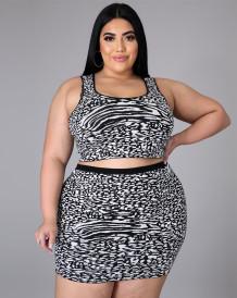 Plus Size Summer Print Tank Crop Top and Mini Skirt Matching Set