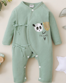 Baby Boy Spring Print Buttoned Strings Rompers