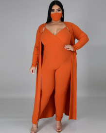 Plus Size Spring 3PC Knitting Jumpsuit with Matching Cardigans and Face Cover