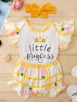 Baby Girl Summer Print Niedliche 3PC Shorts Set