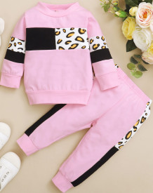 Kids Girl Spring Print Kontrast Sweatsuit