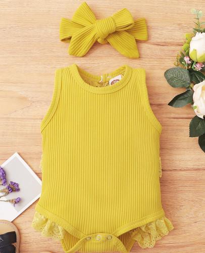女の赤ちゃん夏2PC編みロンパース