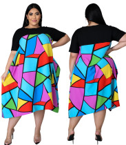 Vestido suelto colorido con estampado de verano de talla grande