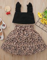 Baby Girl Summer Black Crop Top und Leopard Rock Set