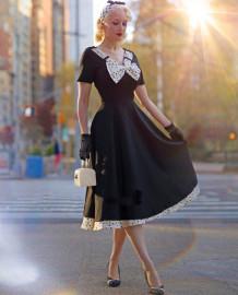 Sommer Polka Schwarz Vintage Prom Kleid