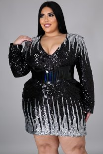 Plus Size Spring Sequins Club Dress with Belt