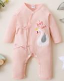 Pagliaccetti con stringhe abbottonate stampa primavera neonato