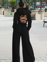 Ensemble assorti Sprint Sexy Lace Up Hoody Crop Top et Wide Pants