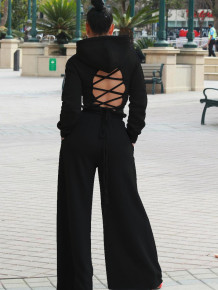 Sprint Sexy Lace Up Hoody Crop Top and Wide Pants Matching Set