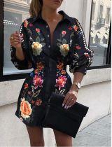 Vestido de blusa floral con estampado elegante de primavera