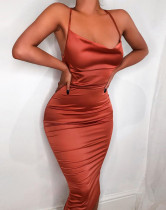 Summer Party Satin Orange Sexy Strap Midi Dress