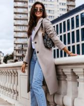 Frühling einfarbig eleganter langer Mantel