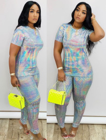 Summer Party Sequins Shirt and Pants Matching Set